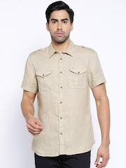 Jack & Jones Beige Linen Casual Shirt