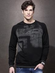 Roadster Men Black Printed Pullover Sweatshirt