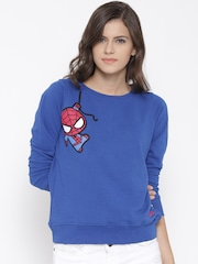 Kook N Keech Marvel Blue Spiderman Print Sweatshirt