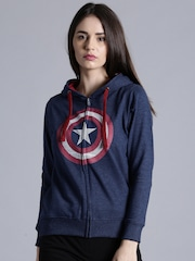 Kook N Keech Marvel Women Blue Printed Front-Open Sweatshirt