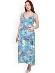 Oxolloxo Blue Printed Maternity Maxi Dress