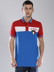 Tommy Hilfiger Blue & Red Colour Block Polo T-shirt