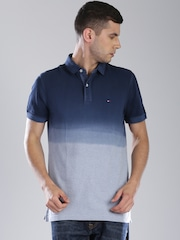 Tommy Hilfiger Blue Ombre-Dyed Custom Fit Polo T-shirt
