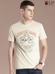 Louis Philippe Jeans Beige Printed T-shirt