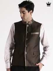 Louis Philippe Brown Woollen Ultra Fit Nehru Jacket