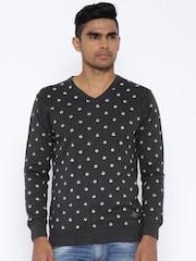 SPYKAR Charcoal Grey Printed Sweater