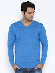 SPYKAR Blue Printed Sweater