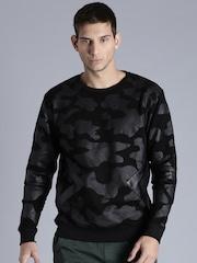 Kook N Keech Men Black & Charcoal Grey Printed Pullover Sweatshirt