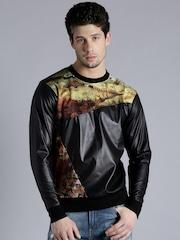 Kook N Keech Black & Yellow Printed Sweatshirt