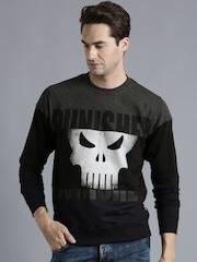 Kook N Keech Marvel Black & Navy Printed Colourblocked Sweatshirt