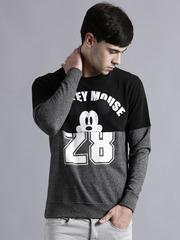 Kook N Keech Disney Black & Grey Printed Colourblocked Sweatshirt