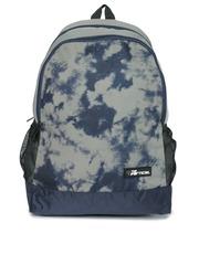 THe VerTicaL Unisex Grey & Navy Printed Laptop Backpack