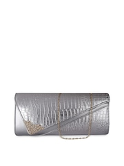 Moedbuille Silver-Toned Textured Clutch