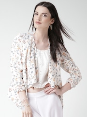 New Look White Polyester Floral Print Front Open Blazer