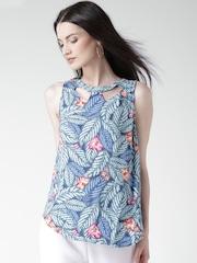 New Look Blue & Grey Floral Print Top