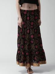 GERUA Black Bandhani Print A-Line Maxi Skirt