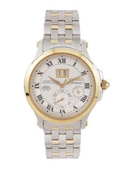 SEIKO Premier Men Gold-Plated Off-White Kinetic Motion Dial Watch SNP042P1