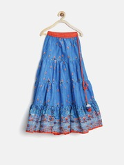 Biba Girls Blue Printed Maxi Skirt