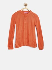 Biba Girls Orange Solid Sweater