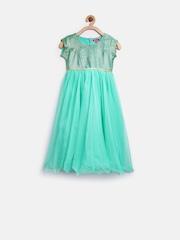 BIBA Girls Turquoise Green Fit & Flare Dress