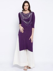 Anouk Purple Printed Kurta