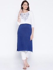 Anouk Blue & White Printed Kurta