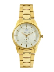 Titan Men Muted Gold-Toned Dial Watch NF1521YM02