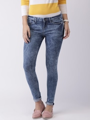 Moda Rapido Blue Acid Washed Skinny Jeans