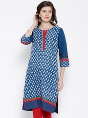 BIBA Blue & White Ikat Patterned Kurta