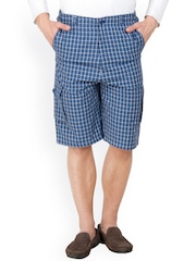 Hypernation Blue Checked Cargo Shorts