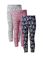 naughty ninos Girls Pack of 3 Printed Ankle-Length Leggings
