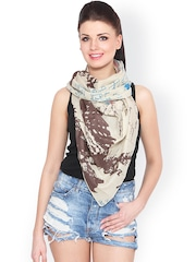 J Style Brown & Beige Printed Stole