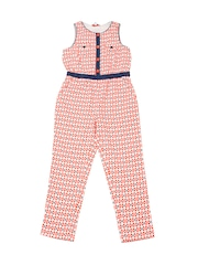 Nauti Nati	Girls Orange Printed Polyester Jumpsuit