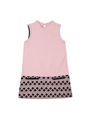 Nauti Nati Girls Pink & Black Printed A-Line Dress