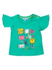 Nauti Nati Girls Turquoise Blue Printed T-shirt