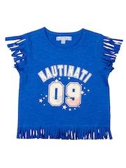 Nauti Nati Girls Blue Printed T-shirt