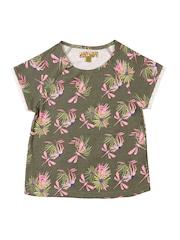 Nauti Nati Girls Olive Green Printed T-shirt