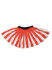 Nauti Nati Girls White & Orange Striped Flared Skirt