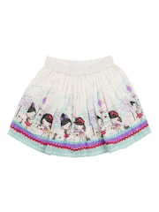 Nauti Nati	 Girls White Printed Flared Skirt