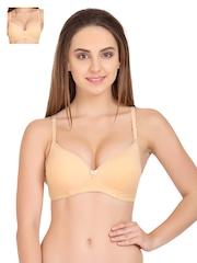 Tweens Nude-Coloured Pack of 2 Medium-Coverage T-shirt Bras TW1520SK