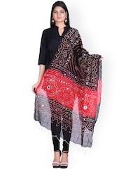 SOUNDARYA Black & Red Sequined Bandhani Dupatta