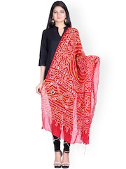 SOUNDARYA Red Sequined Sequined Bandhani Dupatta