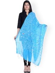 SOUNDARYA Blue Sequined Bandhani Dupatta