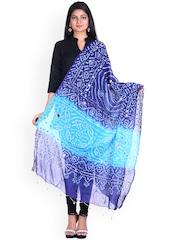 SOUNDARYA Blue Bandhani Print Dupatta