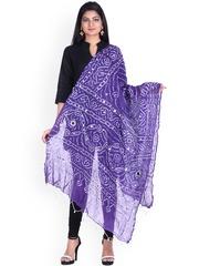 SOUNDARYA Purple Bandhani Print Dupatta