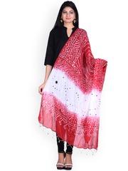 SOUNDARYA Red & White Bandhani Print Dupatta