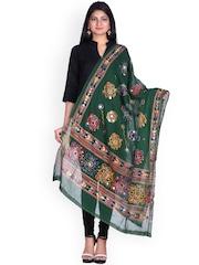 SOUNDARYA Green Kantha Embroidered Dupatta