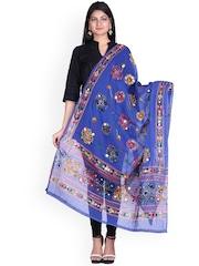 SOUNDARYA Blue Kantha Embroidered Dupatta