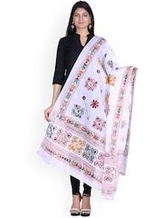 SOUNDARYA White Kantha Embroidered Dupatta