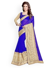 Mirchi Fashion	Blue & Beige Embroidered Faux Georgette & Lycra Saree